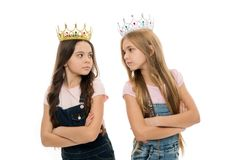 Luxury and glamoury. Adorable little girls with luxury and chic look. Small cute children wearing luxury crowns royalty free stock photography