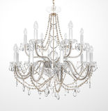 Luxury Glass Chandelier. On white background Stock Photography