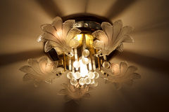 Luxury Glass Chandelier on ceiling Royalty Free Stock Images