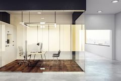 Luxury glass office interior. Design and style concept. 3D Rendering Royalty Free Stock Photos