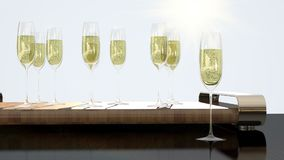 Luxury glasses with champagne for cheers royalty free stock photo