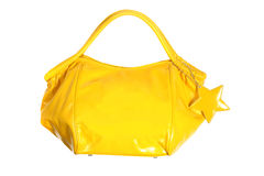 Luxury Glossy Yellow Handbag Stock Photos