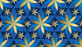 Luxury gold and blue floral geometric seamless pattern. Abstract concept floral asia-style repeatable motif for background, fabric, wrapping paper. floral Stock Photos