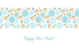 Luxury gold and blue header template. Christmas decorative snowflake background. Vector illustration with new year snow for xmas card, invitation, surface Stock Photos