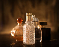 Luxury gold bottles with perfume Royalty Free Stock Photos