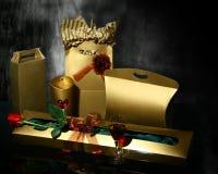 Luxury gold boxes Stock Image