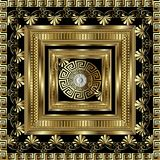 Luxury gold 3d geometric greek key panel pattern.  Vector square. Meanders ornament with figured surface frame, floral borders, round mandala. Greek flowers Royalty Free Stock Image