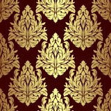 Luxury gold floral ornamental Pattern on red. Stock Photo