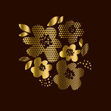 Luxury gold floral print with geometry patterns Royalty Free Stock Photos