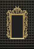 Luxury gold frame on the black background. 3d model of royal mirror Stock Illustration