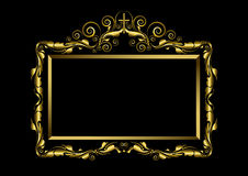 Luxury gold frame on black Background Stock Images