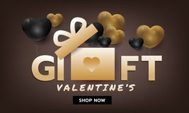 Luxury gold gift banner for valentines day or holiday promotion. Template vector illustration royalty free illustration