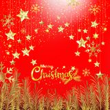Luxury gold glitter Merry Christmas and Happy New Year with red. Gold Glitter Merry Christmas and Happy New Year typography, Luxury elegance design for Christmas stock illustration