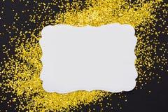 Luxury gold glitter sparkles frame Stock Photo