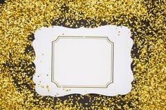 Luxury gold glitter sparkles frame Stock Photos