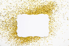Luxury gold glitter sparkles frame Stock Photo