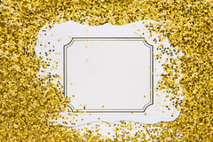 Luxury gold glitter sparkles frame Royalty Free Stock Image