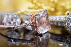 Luxury gold Jewelry diamond and pink topaz rings royalty free stock images