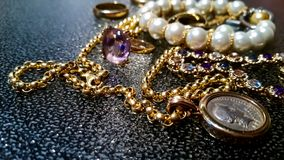 Luxury gold jewelry Stock Photography