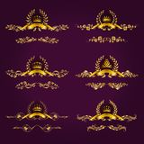 Luxury gold labels with laurel wreath. Set of luxury gold borders, frames for design of labels, emblems, medals, stickers with laurel wreath, filigree crown Royalty Free Stock Images