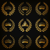 Luxury gold labels with laurel wreath Royalty Free Stock Photo