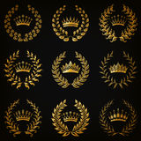 Luxury gold labels with laurel wreath Stock Image