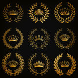 Luxury gold labels with laurel wreath Stock Images