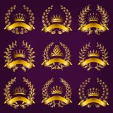 Luxury gold labels with laurel wreath Stock Photos