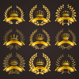 Luxury gold labels with laurel wreath Royalty Free Stock Images