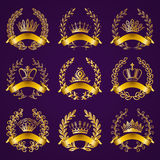 Luxury gold labels with laurel wreath Stock Photo