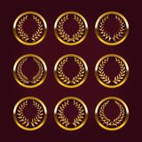 Luxury gold labels with laurel wreath Royalty Free Stock Photos