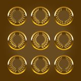 Luxury gold labels with laurel wreath Royalty Free Stock Image
