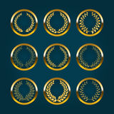 Luxury gold labels with laurel wreath Stock Photography