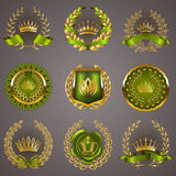 Luxury gold labels with laurel wreath Royalty Free Stock Photography