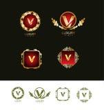 Luxury gold letter v logo Stock Photography
