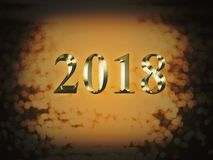 Luxury gold 2018 new year on gold bokeh background. Happy new year 2018.  royalty free stock photo