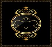 Luxury gold ornament with emblem Royalty Free Stock Image
