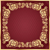 Luxury gold pattern frame on claret background. Square Stock Photography