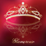 Luxury gold with pearls feminine tiara. Royalty Free Stock Images