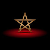 Luxury gold pentagram on red shadow,  illustration Royalty Free Stock Photography