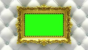 Luxury gold picture frame on background of rapidly changing textures of wood and upholstery. 3D animation, seamless loop. Gold picture frame on background of Royalty Free Illustration