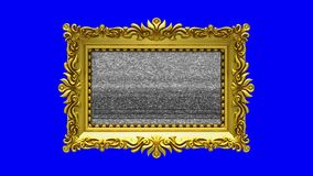 Luxury gold picture frame rotates on blue background, chroma key. Intro with tv noise and green screen, 3d animation. Gold picture frame with tv noise on blue stock video footage