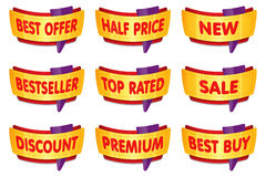 Luxury gold premium labels. Sale, price and banner badges. Stock Images