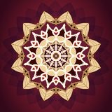 Luxury gold and red mandala pattern design background stock illustration
