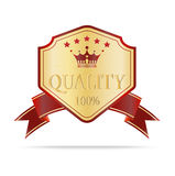 Luxury gold and red quality shields label Stock Photography