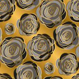 Luxury gold rose decorative flowers seamless pattern. Royalty Free Stock Photography