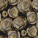 Luxury gold rose decorative flowers seamless pattern. Royalty Free Stock Photos