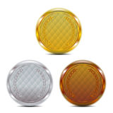 Luxury gold silver bronze badge Stock Photo