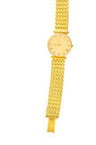 Luxury gold watch  on white background with blank copy t Stock Photos