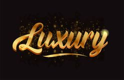 Goldenlogotype copy 42. Luxury gold word text with sparkle and glitter background suitable for card, brochure or typography logo design Stock Image